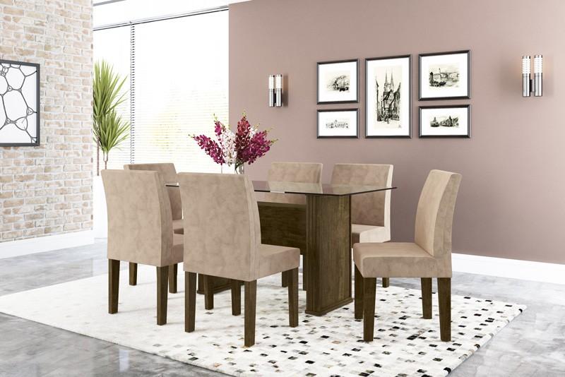 Mesa de Jantar com 6 Cadeiras Europa Imbuia com Suede Bege - RV Moveis