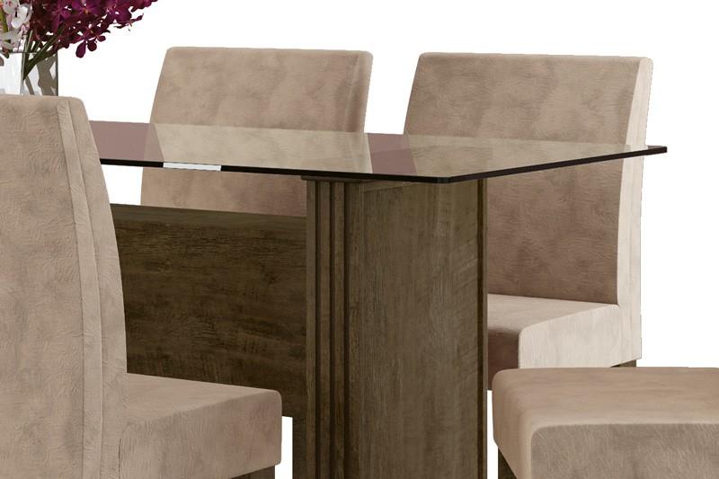 Mesa de Jantar com 6 Cadeiras Europa Imbuia com Pena Caramelo - RV Móveis
