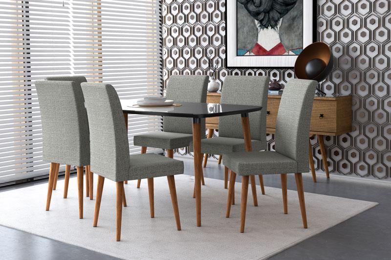 Mesa de Jantar com 6 Cadeiras Jade Black com Cinza Lunar - RV Moveis