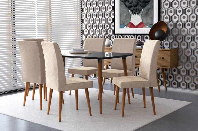 Mesa de Jantar com 6 Cadeiras Jade Black com Pena Caramelo - RV Móveis