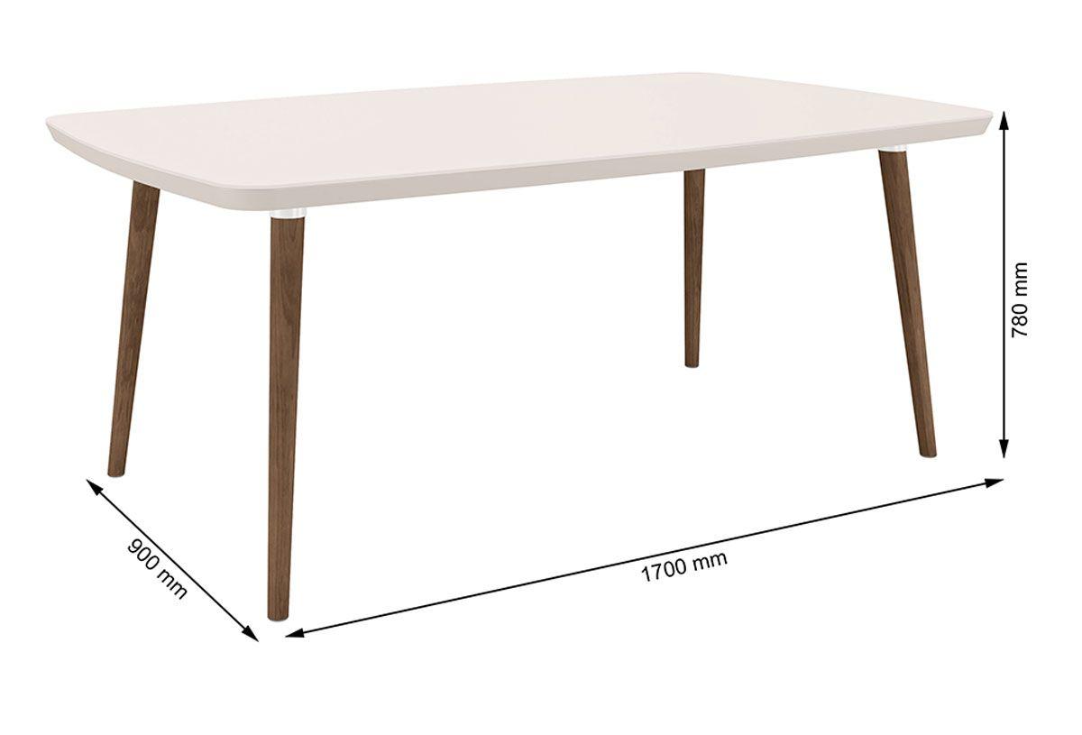 Mesa de Jantar com 6 Cadeiras Jade Pé Palito Off White com Pena Caramelo - RV Móveis