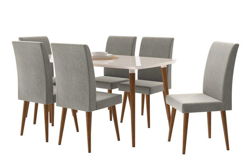Mesa de Jantar com 6 Cadeiras Jade Off White com Naturale Cinza - RV Móveis