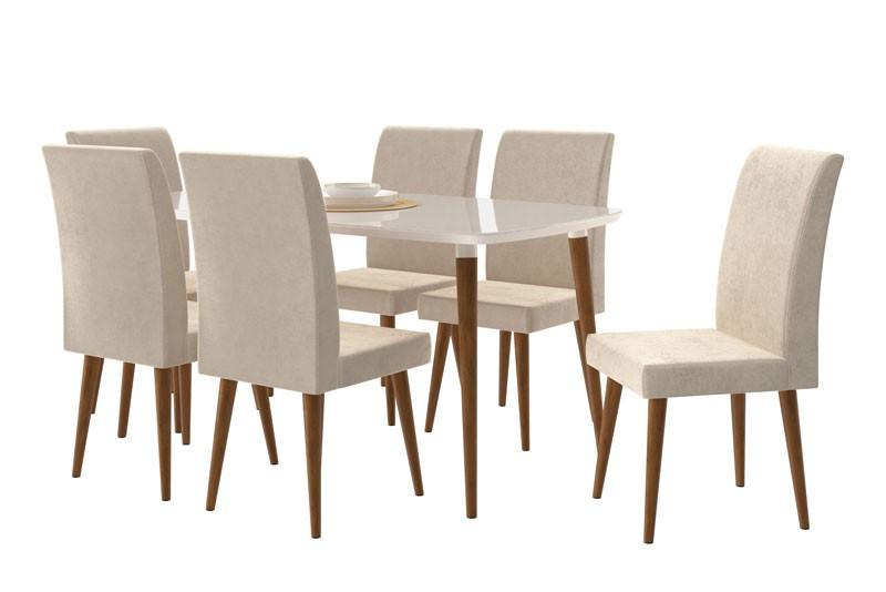 Mesa de Jantar com 6 Cadeiras Jade Off White com Pena Caramelo - RV Móveis  - MoveisAqui - Loja de móveis online!