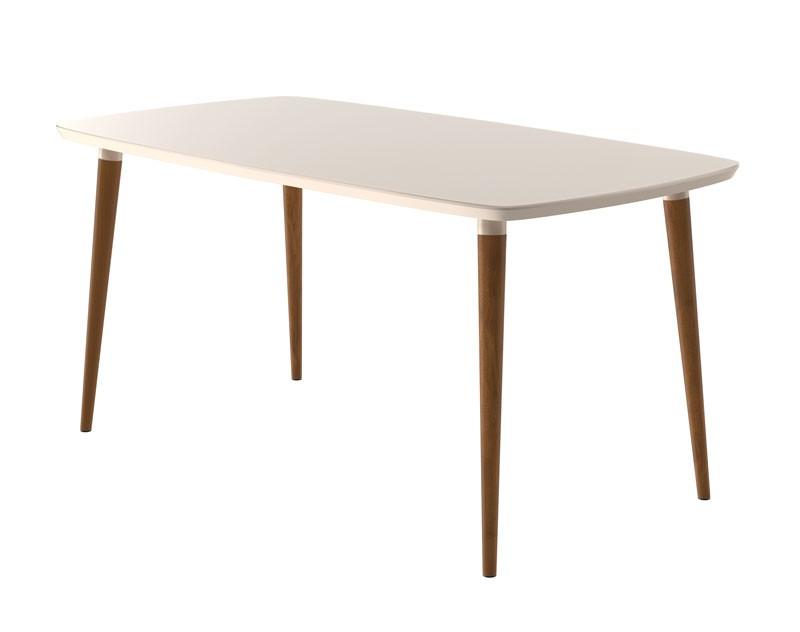 Mesa de Jantar com 6 Cadeiras Jade Off White com Suede Bege - RV Móveis