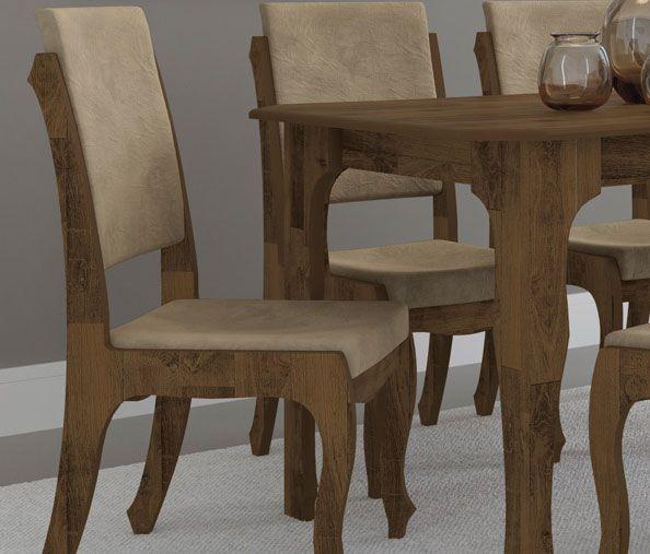 Mesa de Jantar com 6 Cadeiras Ônix Amadeirado com Pena Caramelo - RV Móveis