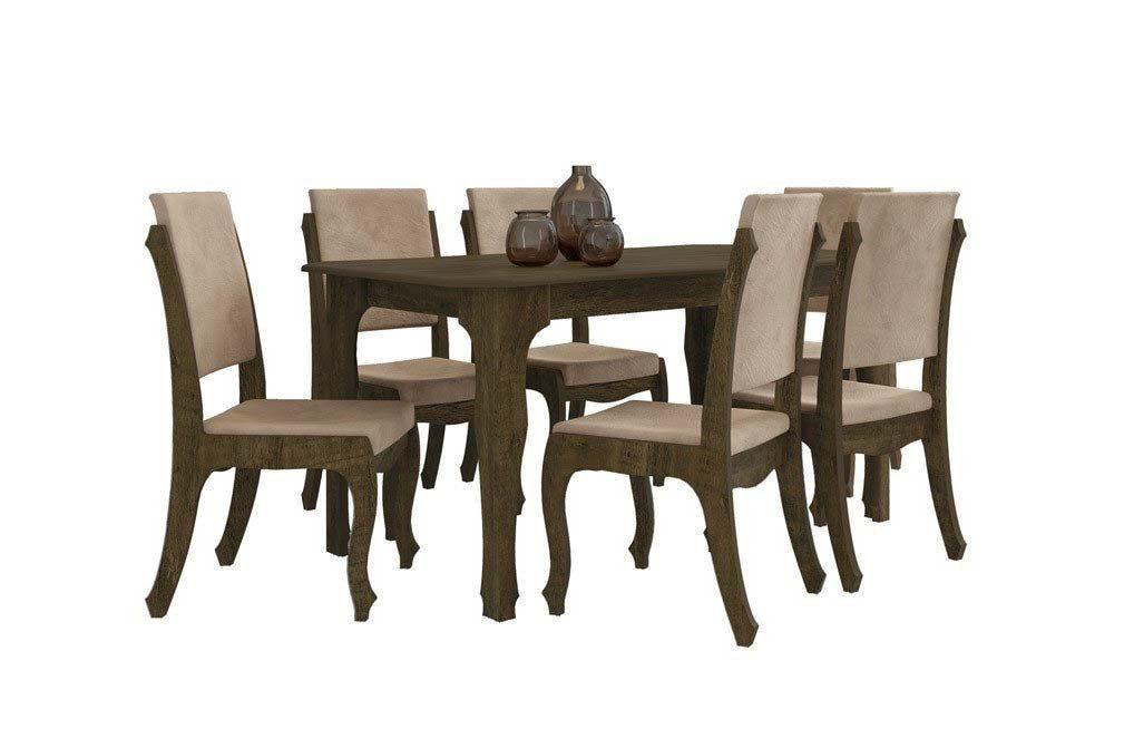 Mesa de Jantar com 6 Cadeiras Ônix Imbuia com Pena Caramelo - RV Móveis