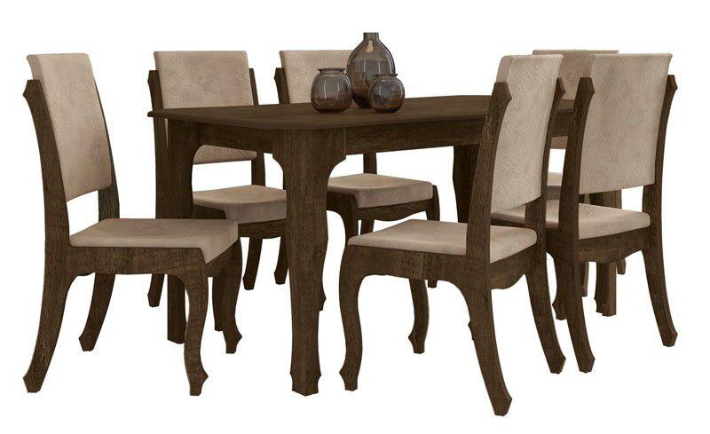 Mesa de Jantar com 6 Cadeiras Ônix Noce com Pena Caramelo - RV Móveis
