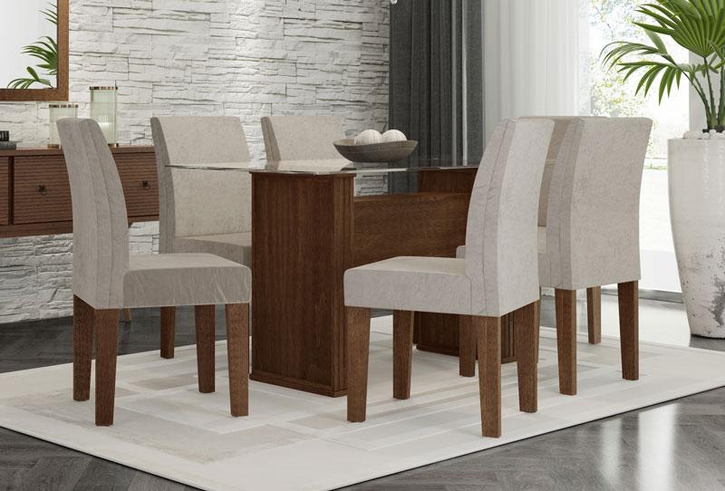 Mesa de Jantar com 6 Cadeiras Zafira Castanho com Suede Bege - RV Moveis