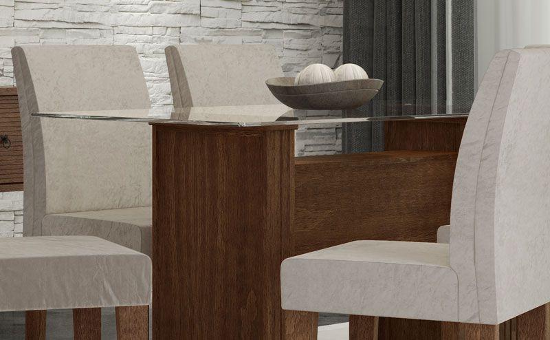 Mesa de Jantar com 6 Cadeiras Zafira Castanho com Pena Caramelo - RV Móveis