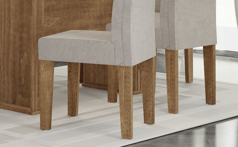 Mesa de Jantar com 6 Cadeiras Zafira Naturale com Pena Caramelo - RV Móveis  - MoveisAqui - Loja de móveis online!