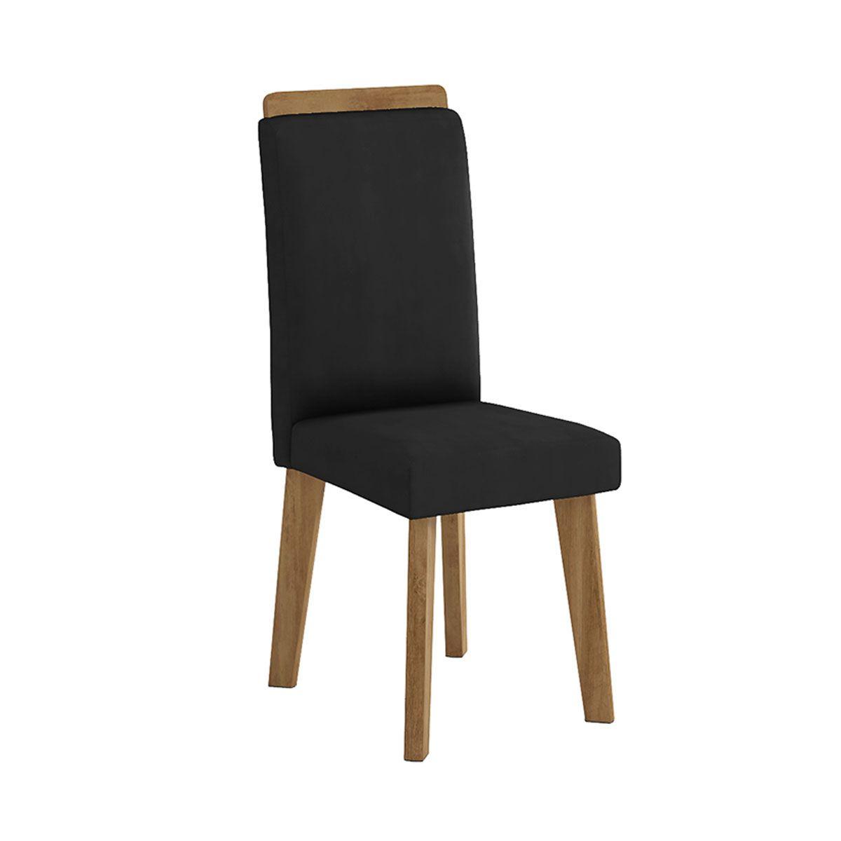 Mesa de Jantar Diamante com 6 Cadeiras Off White com Aveludado Preto - RV Móveis