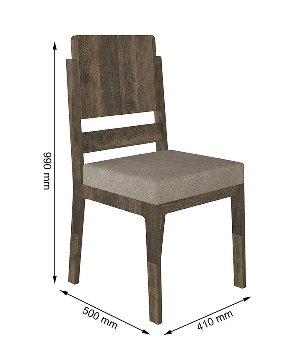 Mesa de Jantar Europa com 4 Cadeiras Esmeralda Amadeirado com Pena Caramelo - RV Móveis