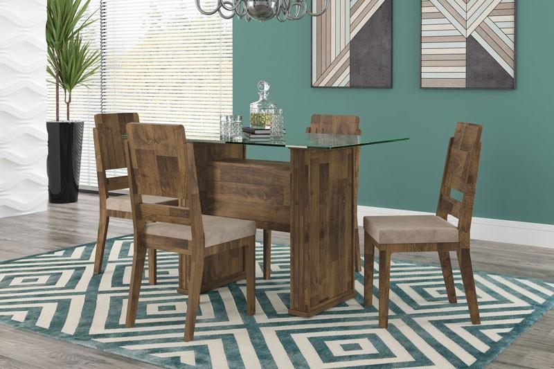 Mesa de Jantar Europa com 4 Cadeiras Esmeralda Amadeirado com Suede Bege - RV Móveis