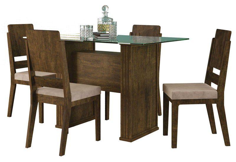 Mesa de Jantar Europa com 4 Cadeiras Esmeralda Imbuia com Pena Caramelo - RV Móveis