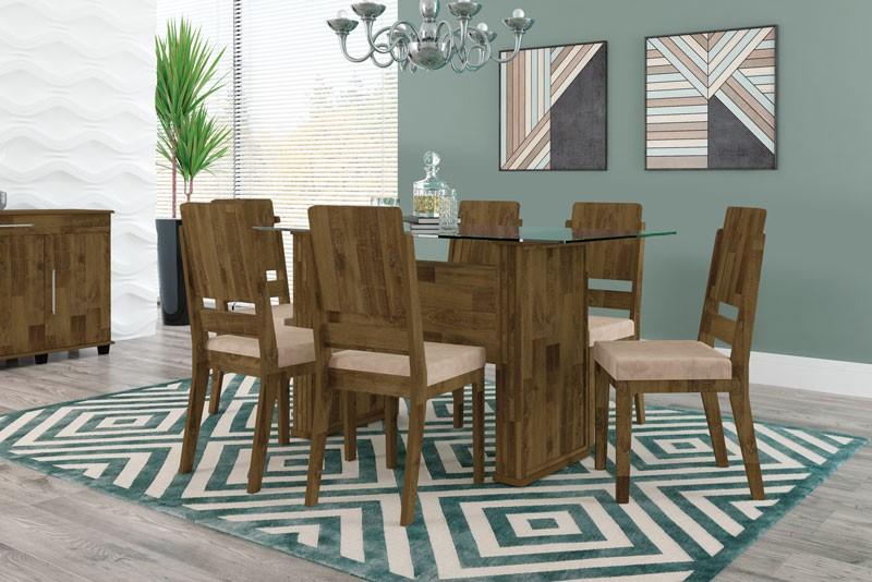 Mesa de Jantar Europa com 6 Cadeiras Esmeralda Amadeirado com Pena Caramelo - RV Móveis