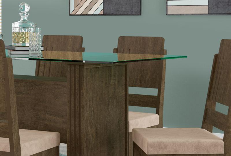 Mesa de Jantar Europa com 6 Cadeiras Esmeralda Imbuia com Pena Caramelo - RV Móveis