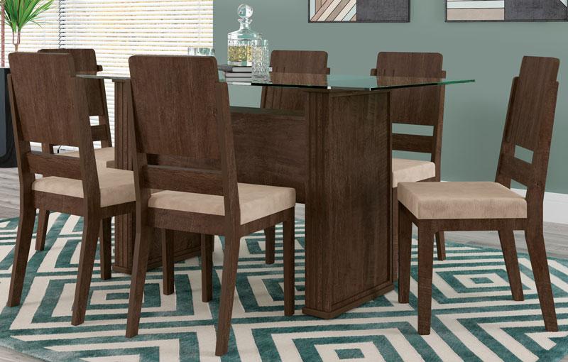 Mesa de Jantar Europa com 6 Cadeiras Esmeralda Noce com Pena Caramelo - RV Móveis