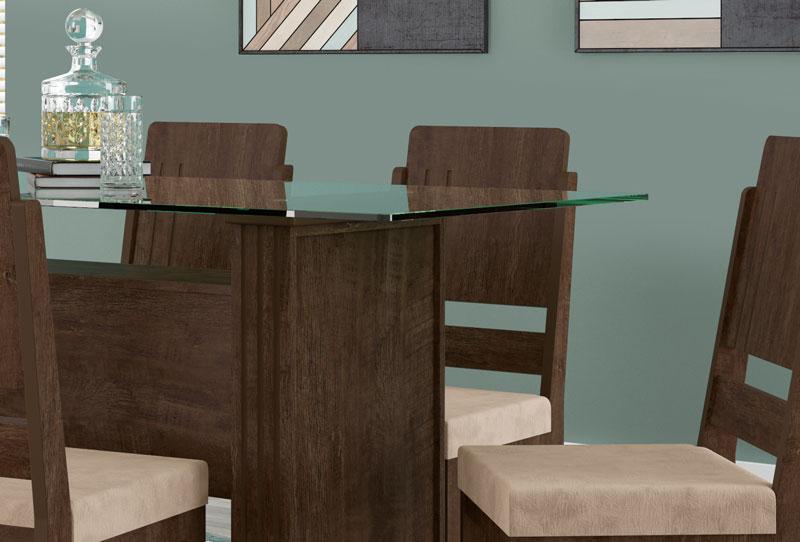 Mesa de Jantar Europa com 6 Cadeiras Esmeralda Noce com Suede Bege - RV Moveis