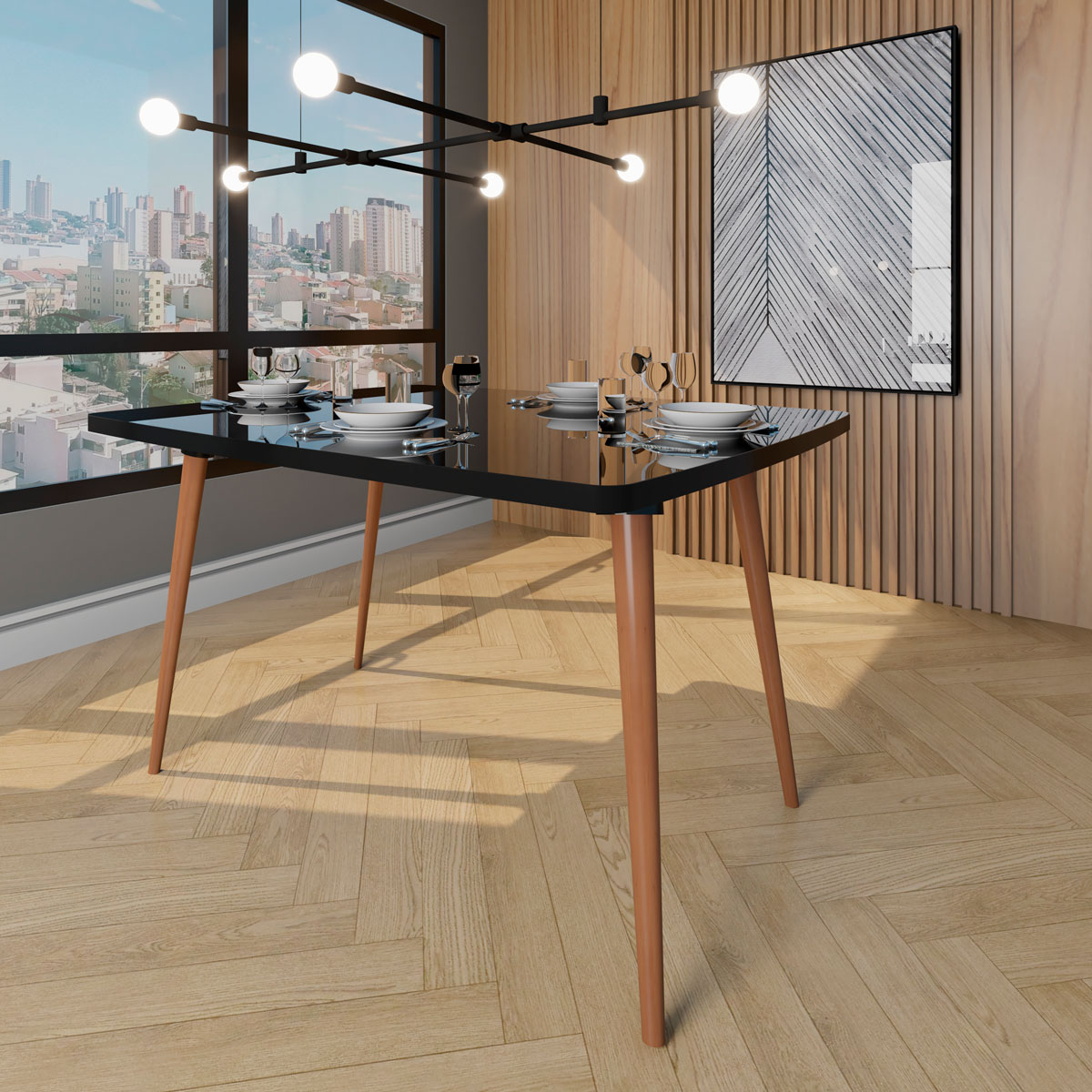 Mesa de Jantar Jade 4 lugares Black com Vidro - RV Móveis