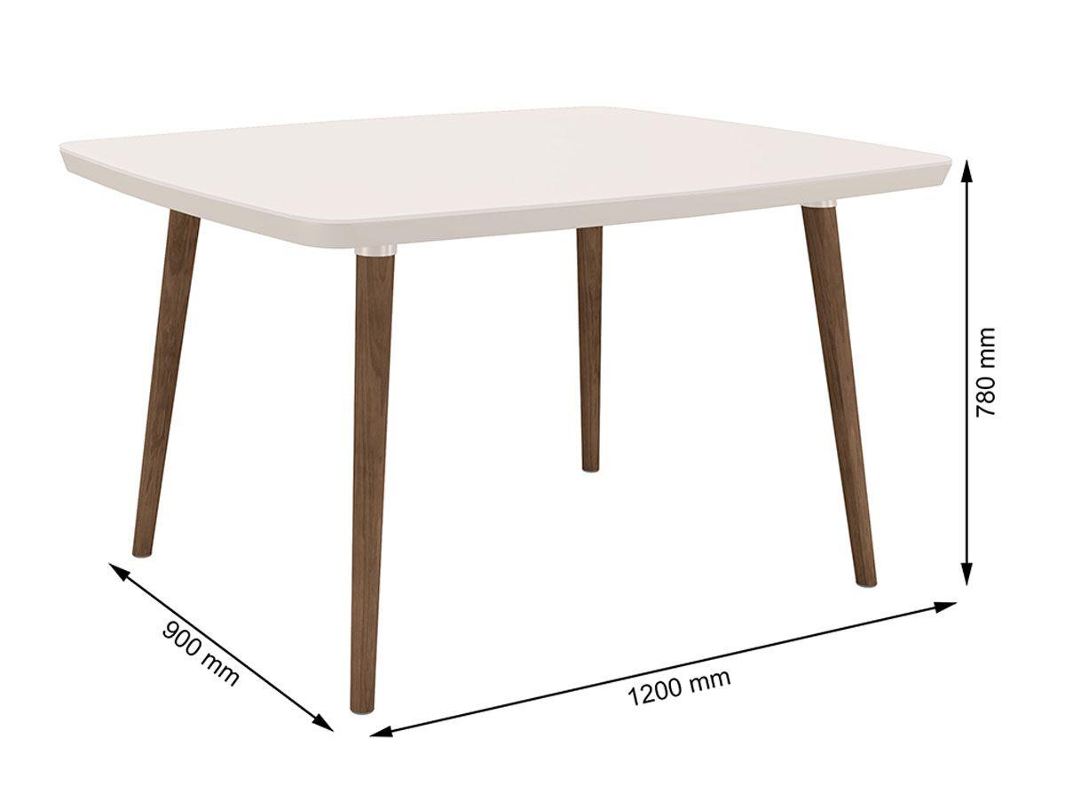 Mesa de Jantar Jade 4 lugares Off White com Vidro - RV Móveis
