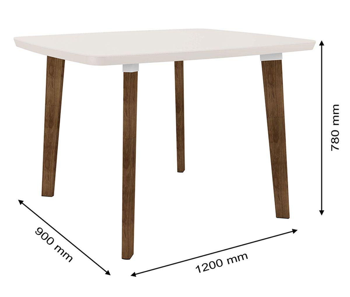 Mesa de Jantar Jade 4 lugares Pés Oblongo Off White com Vidro - RV Móveis