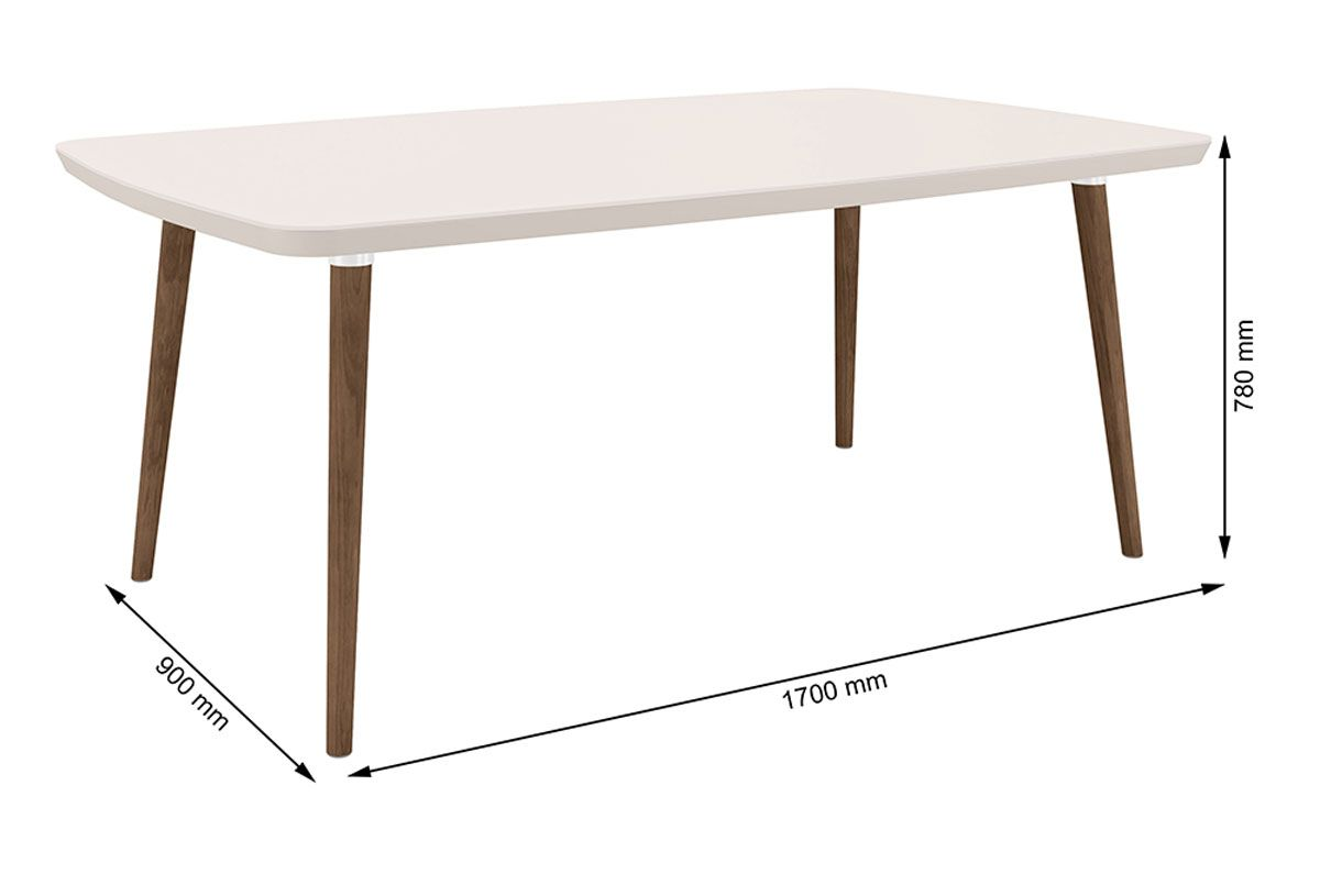 Mesa de Jantar Jade 6 lugares Off White com Vidro - RV Móveis