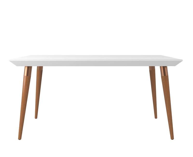 Mesa de Jantar Liv 160x90 6 lugares com Vidro Branco Gloss com Natural - Moveis Provincia