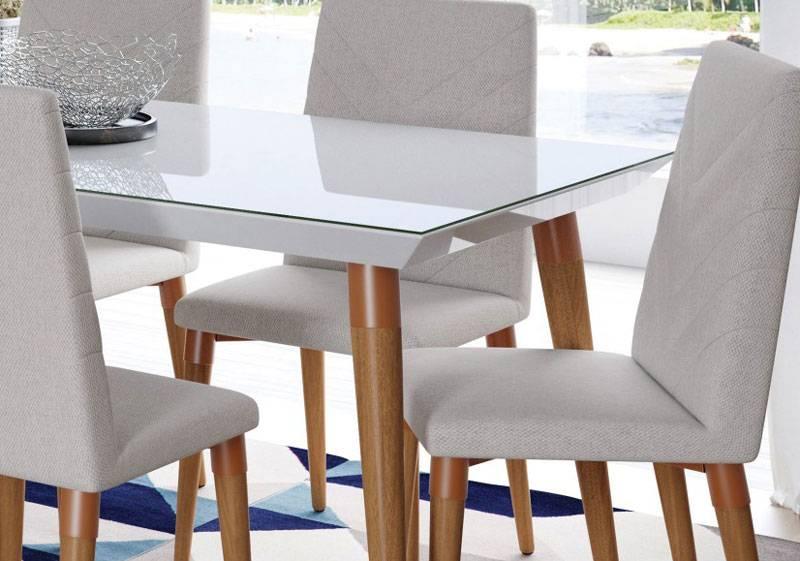 Mesa de Jantar Liv 160x90 6 lugares com Vidro Branco Gloss com Natural - Móveis Provincia
