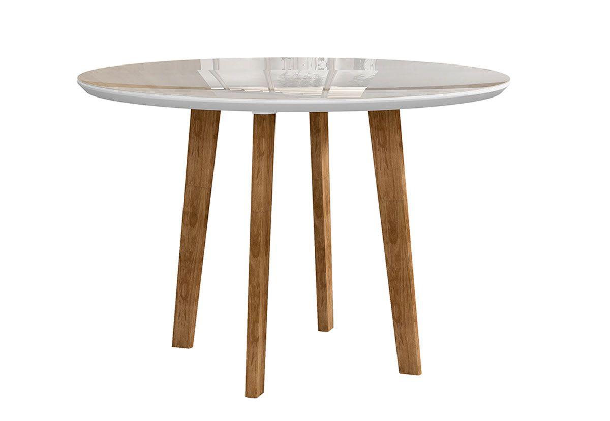 Mesa de Jantar Redonda com Vidro Turmalina com 4 Cadeiras Pés Oblongo Branco Clean com Pena Caramelo - RV Móveis