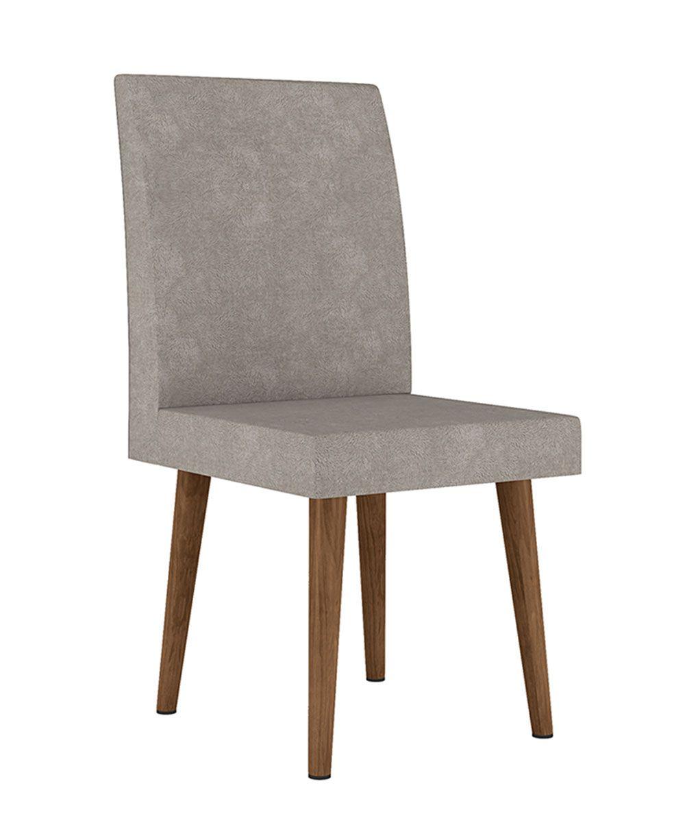 Mesa de Jantar Redonda com Vidro Turmalina com 4 Cadeiras Pés Palito Branco Clean com Pena Caramelo - RV Móveis