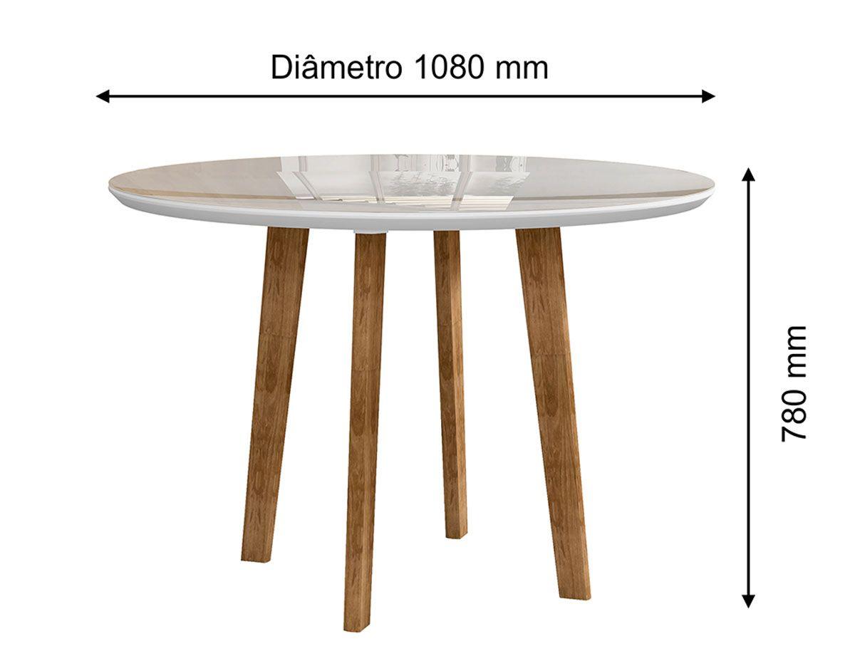 Mesa de Jantar Redonda Turmalina 4 Lugares Pés Oblongo Branco Clean com Vidro - RV Móveis
