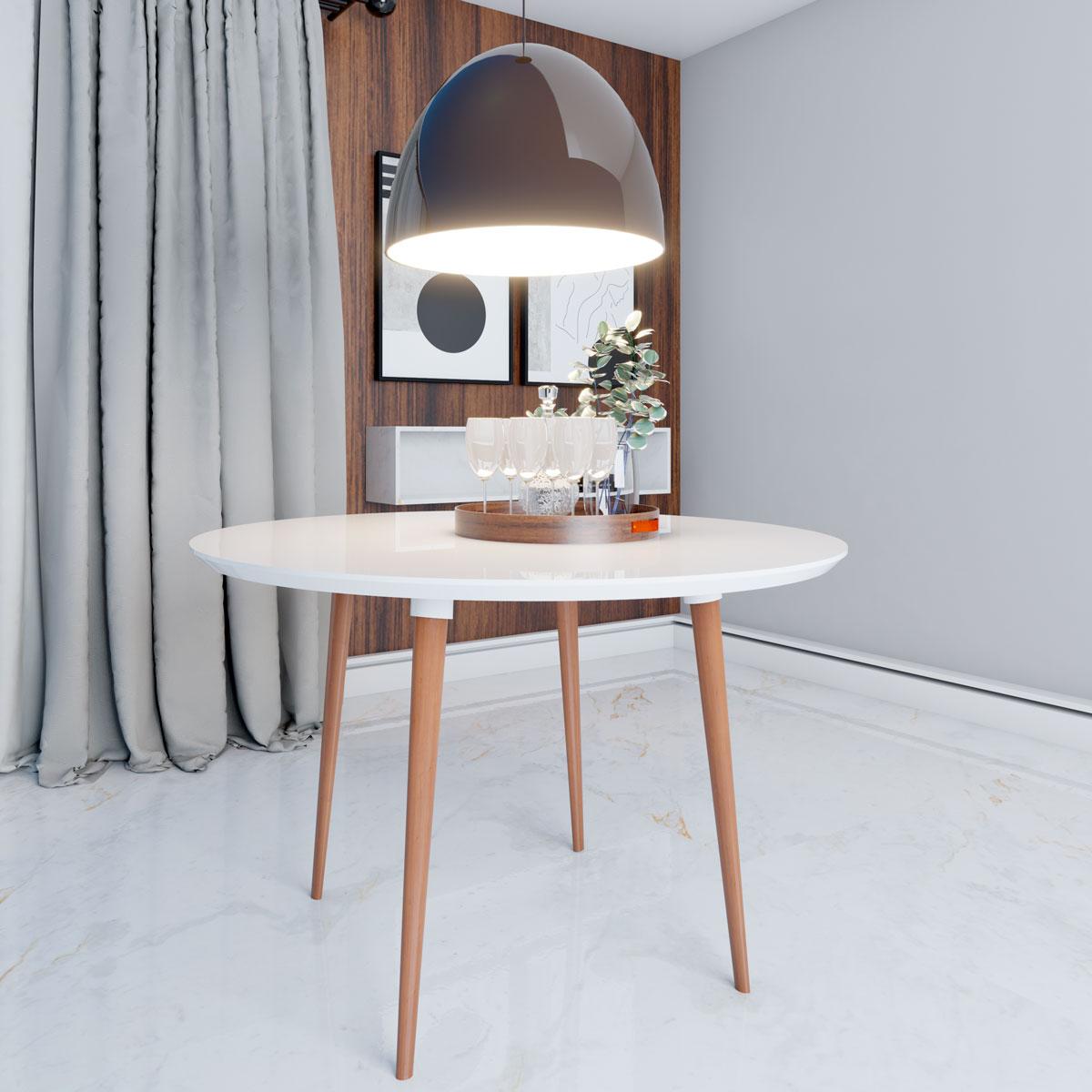 Mesa de Jantar Redonda Turmalina 4 Lugares Pés Palito Branco Clean com Vidro - RV Móveis