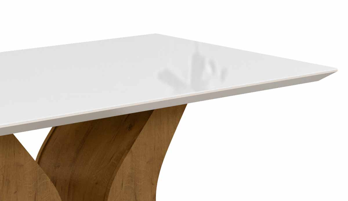 Mesa de Jantar Santorini com 6 Cadeiras Creta Madero Canela com Off White e Champagne - Lukaliam Móveis