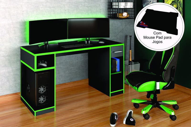 Mesa Gamer IDL XP 1000 Pro Preto/Verde - Germai Móveis