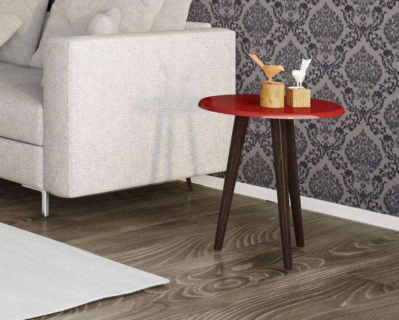 Mesa Lateral Brilhante Vermelho - Moveis Bechara  - MoveisAqui - Loja de móveis online!