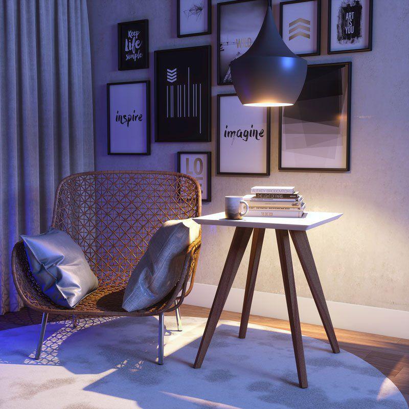 Mesa Lateral Classic Quadrada Branco Acetinado - Imcal Móveis
