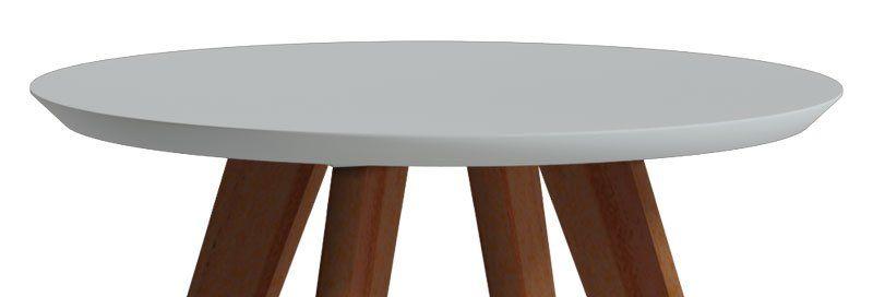 Mesa Lateral Classic Redonda Branco Acetinado - Imcal Móveis