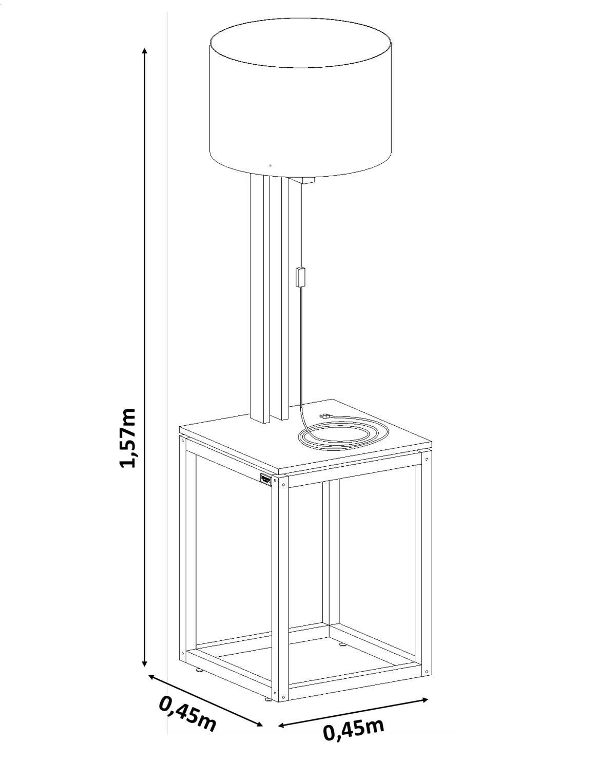 Mesa Lateral Supreme com Luminária Preto com Amêndoa - Tebarrot Móveis