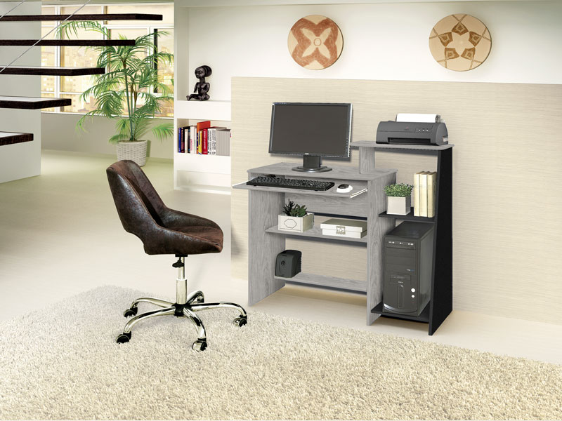 Mesa para Computador Austrália Carvalho com Preto - Móveis Primus