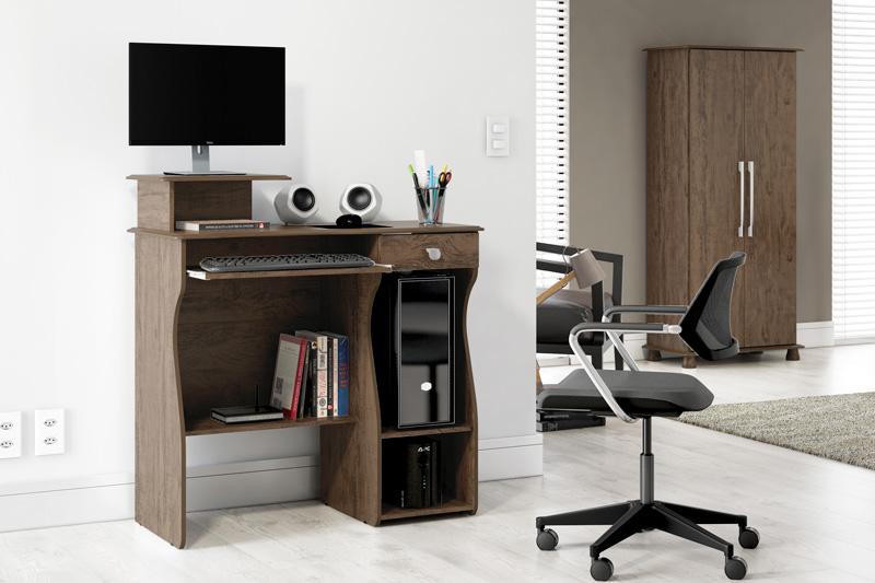 Mesa para Computador Marina Imbuia - Patrimar Móveis
