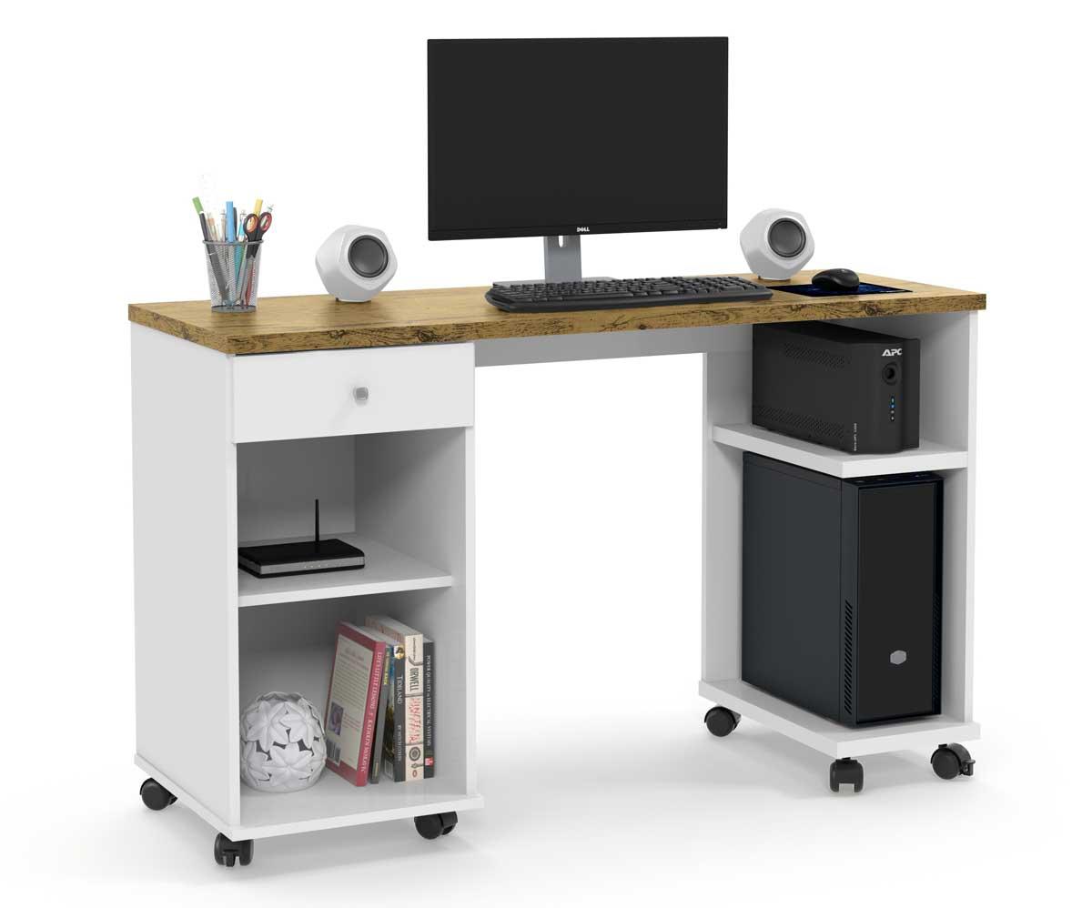 Mesa para Computador Million Branco com Nature - Patrimar Móveis