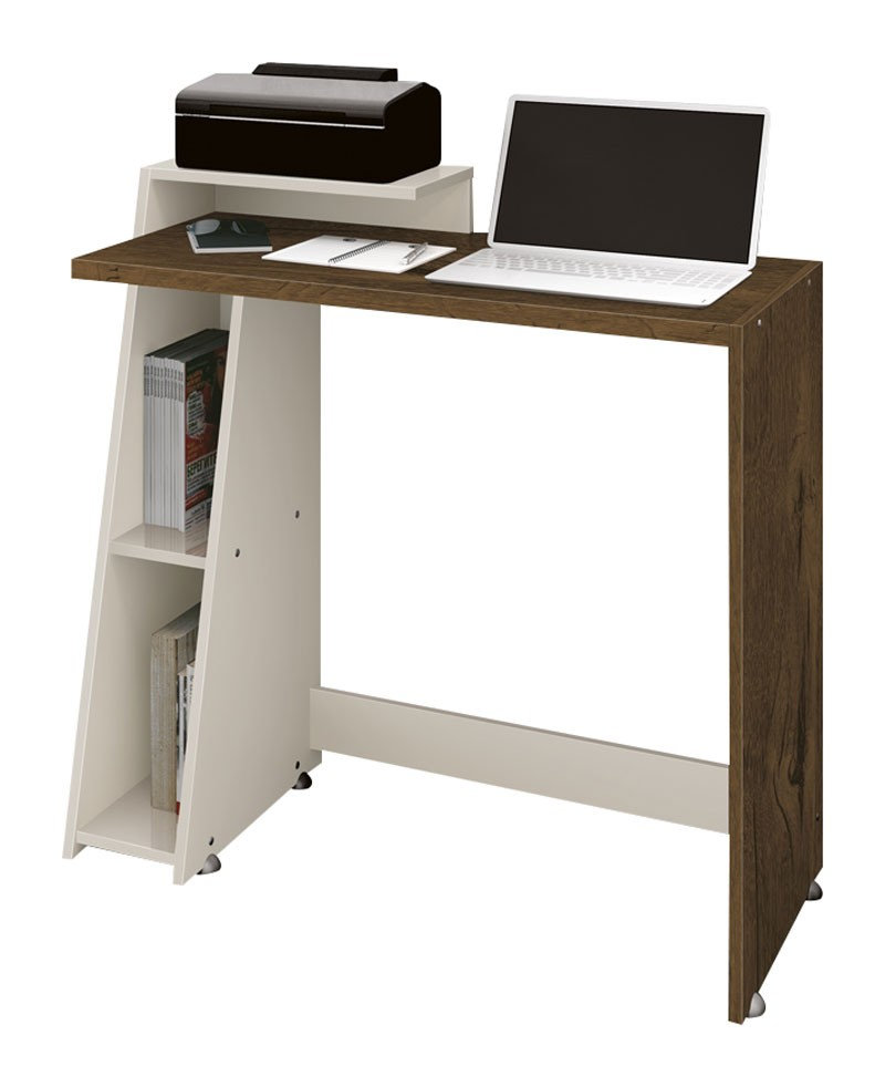 Mesa para Computador Office Zoom Nogal Rústico com Off White - Edn Móveis