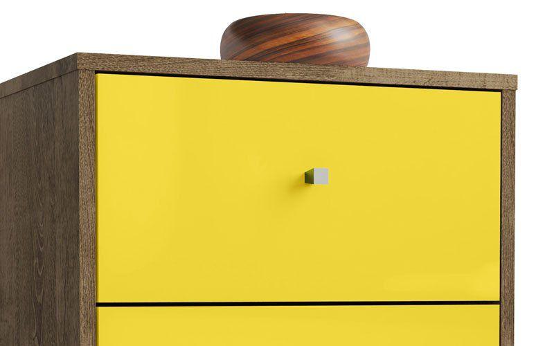 Modulo 450 MB 2015 Madeira Rústica com Amarelo - Móveis Bechara