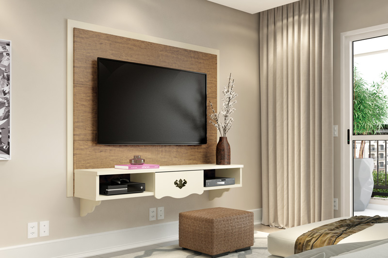 Painel para TV Athenas Demolição com Off White - Patrimar Móveis
