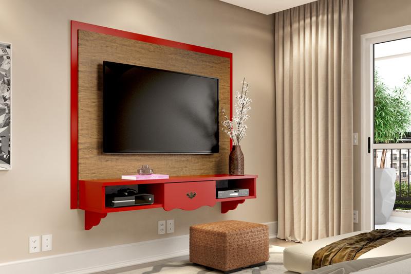 Painel para Tv Athenas Demolicao com Vermelho - Patrimar Moveis