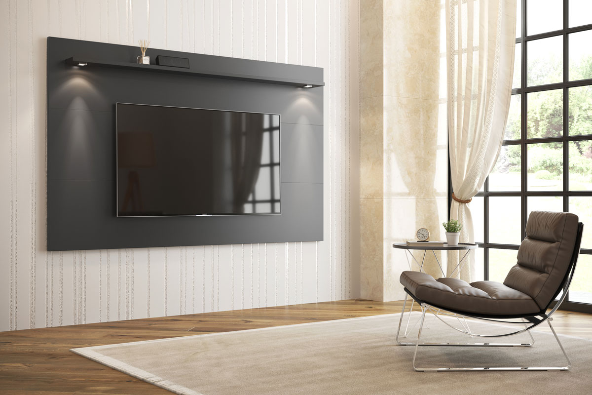 Painel para TV Aspen 2.2 Preto - MoveisAqui