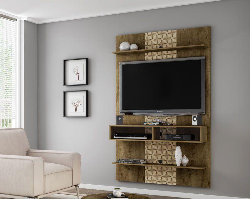 Painel para TV 47 polegadas Vega Madeira Rústica com Madeira 3D - Móveis Bechara
