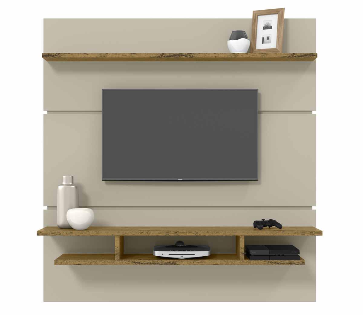 Painel para TV Adryan Off White com Nature - Patrimar Móveis