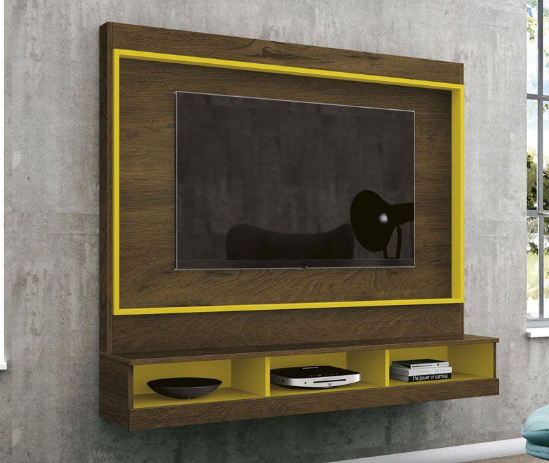 Painel para TV Arena Nogal Rustico com Amarelo - Edn Móveis