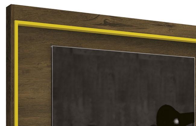 Painel para Tv Arena Nogal Rustico com Amarelo - Edn Moveis